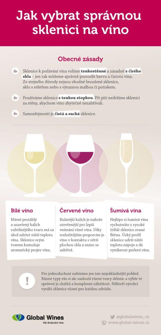 Jak vybrat spravnou sklenici na vino - infografika