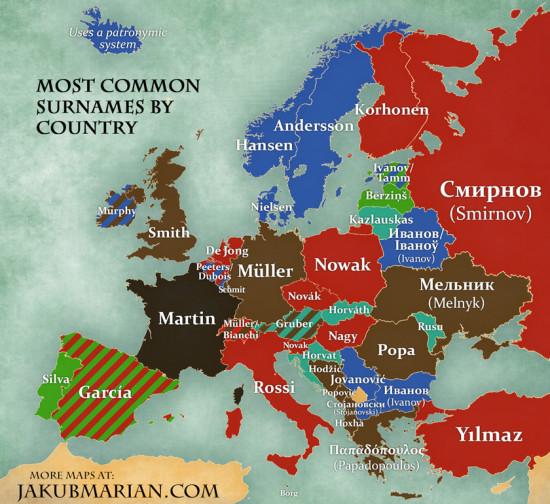 mapa příjmení v Evropě
