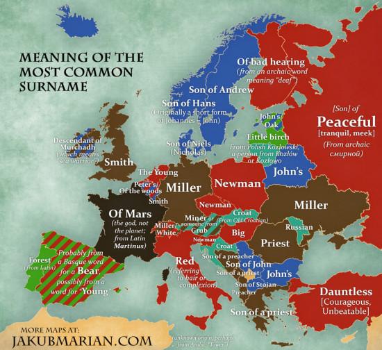 mapa příjmení v Evropě - významy