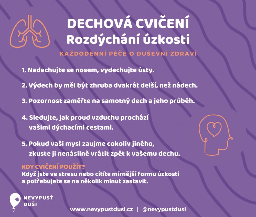Dechové cvičení, rozsýchání úzkosti, každodenní péče o duševní zdraví, nevypusť duši. www.nevypustdusi.cz